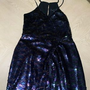 Adelyn Rae T-Back Cocktail Dress with Sequin Skirt